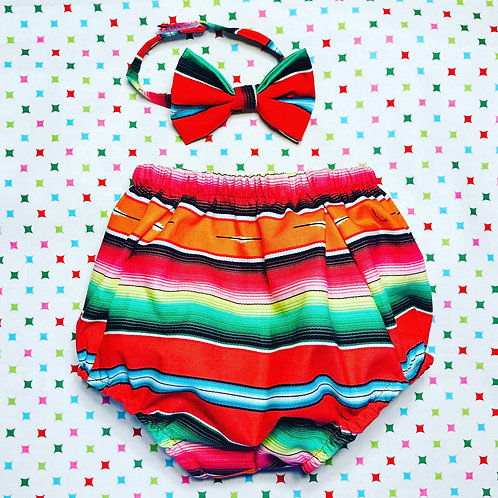Red serape bloomer and bow tie