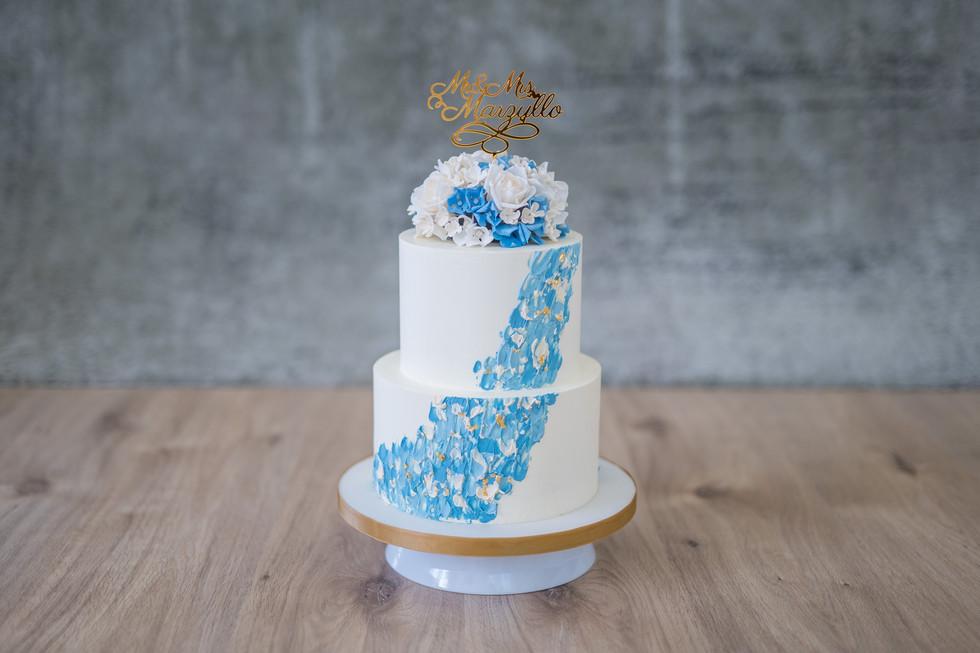 """Hochzeitstorte """"Blau und Weiss"""