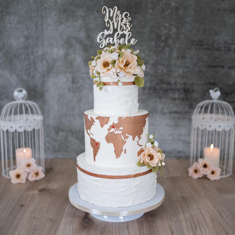 """Hochzeitstorte """"Weltkarte"""""""