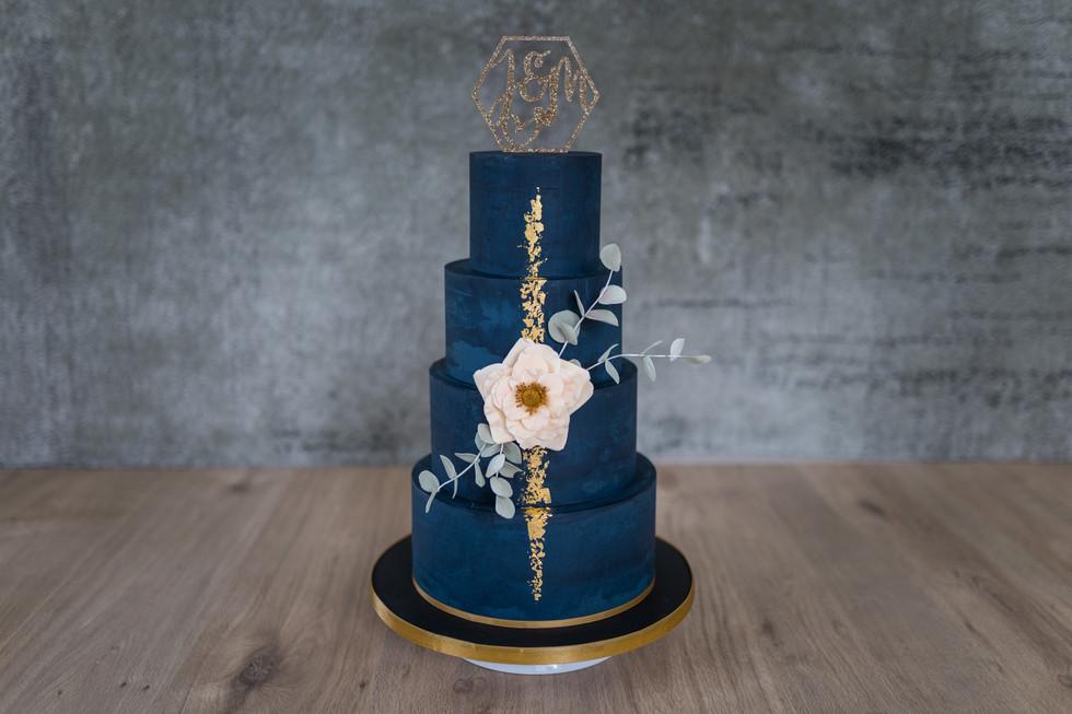 """Hochzeitstorte """"Blau und Gold"""""""