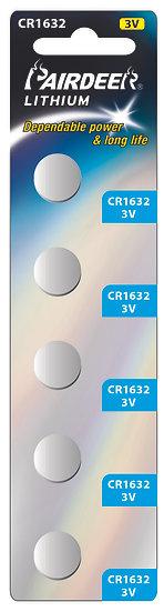 סוללת ליטיום כפתור בליסטר 5 יחידות3V CR1632 PK