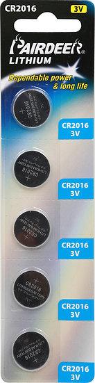 סוללת ליטיום כפתור 5 יחידות V3 CR2016 PKCELL