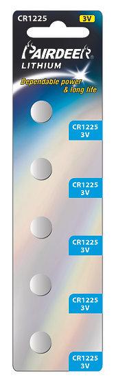 סוללת ליטיום כפתור 5 יחידות V3 CR1225 PKCELL