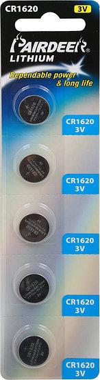 סוללת ליטיום כפתור 5 יחידות V3 CR1620 PKCELL