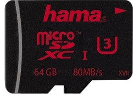 כרטיס זיכרוןHAMA 123982Micro SDXC64GB U3 UIV30 80MB/s+A/F