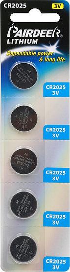 סוללת ליטיום כפתור 5 יחידות V3 CR2025 PKCELL