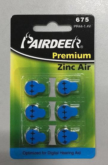 סוללות למכשיר שמיעה 6 יחידות - Pairdeer 675