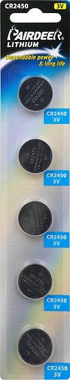סוללת ליטיום כפתור 5 יחידות V3 CR2450 PKCELL