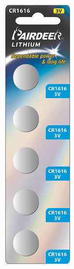 סוללת ליטיום כפתור 5 יחידות V3 CR1616 PKCELL