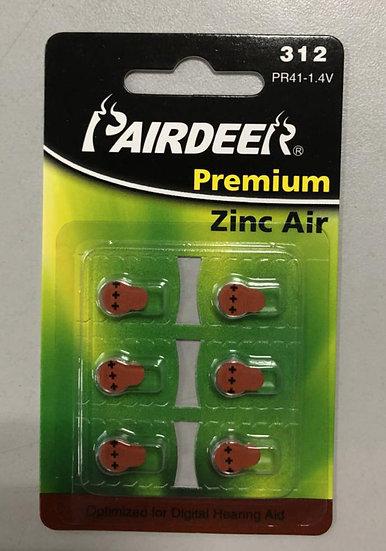 סוללות למכשיר שמיעה 6 יחידות - Pairdeer 312
