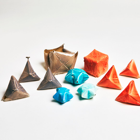 Porcelain Origami Pyramids Cubes Lucky Stars