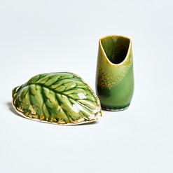 Leaf Dish and Bud Vase