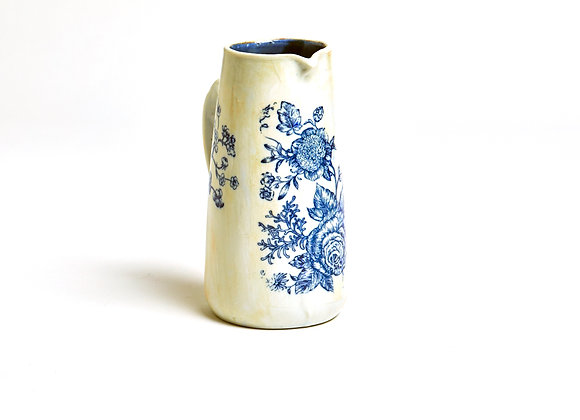 Pitcher with blue flowers
