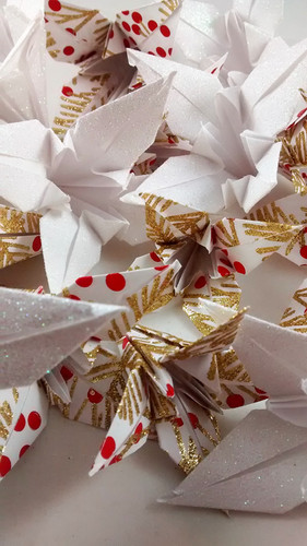 Red Gold Lilies with Holly and White Lilies