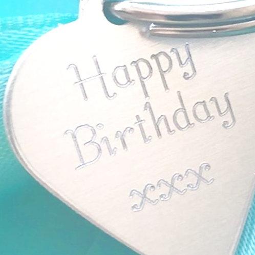 """Happy Birthday"" Heart Keyring Tag - 2cm"