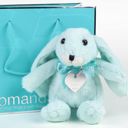 Small Snuggly Bunny Mint Green with Happy Easter Keyring