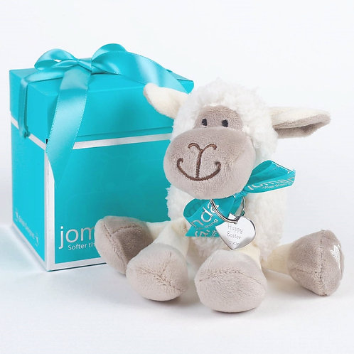 Mini White Sitting Sheep with Happy Easter Keyring