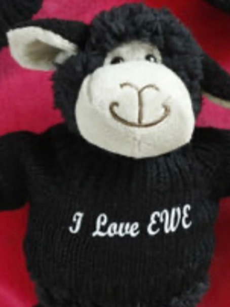Black Snuggle Sheep In Personalised Jumper