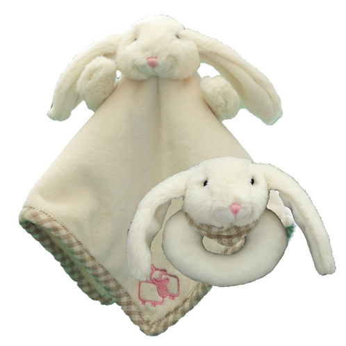 Bunny Finger Puppet & Rattle Set - Brown or Cream