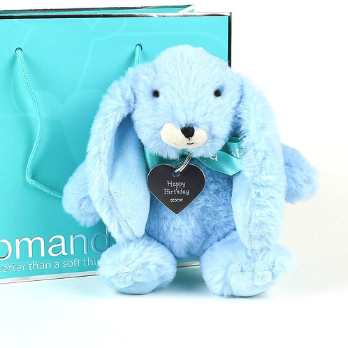 Small Snuggly Bunny Baby Blue With Happy Birthday Keyring
