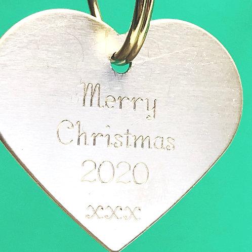 """Merry Christmas 2020"" Heart Tag - 3cm"