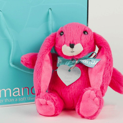 Small Snuggly Bunny Pink with Happy Easter Keyring