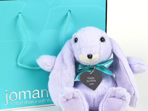 Small Snuggly Bunny Lilac with Happy Birthday Keyring
