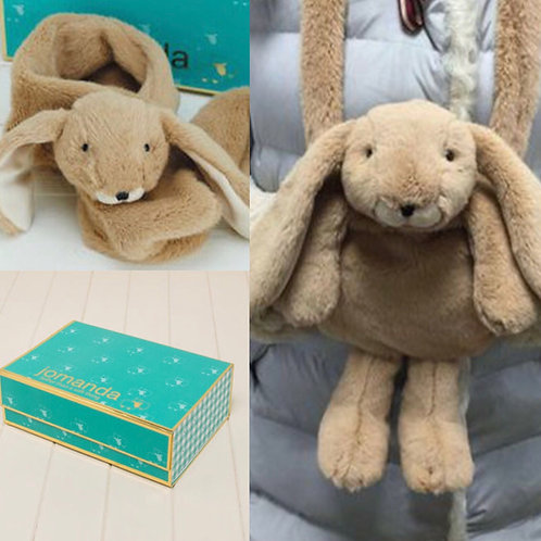 Brown Bunny Hand Muff and Scarf in Magnetic Box