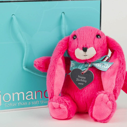 Small Snuggly Bunny Pink with Happy Birthday Keyring