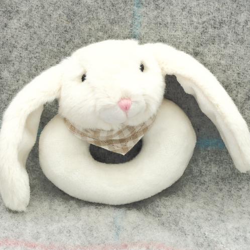 Bunny Baby Rattle Cream