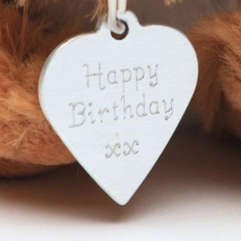 """Happy Birthday"" Heart Tag - 2cm"
