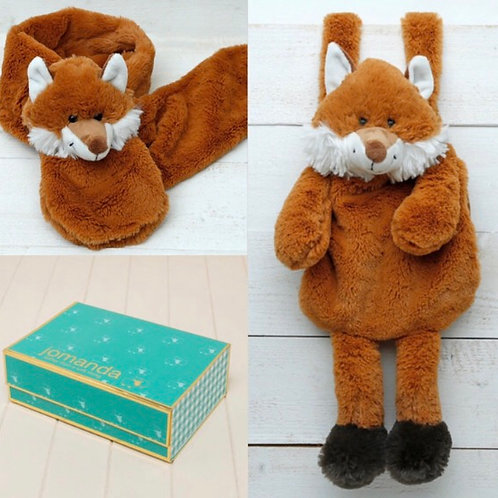 Fox Hand Muff & Scarf In Magnetic Box