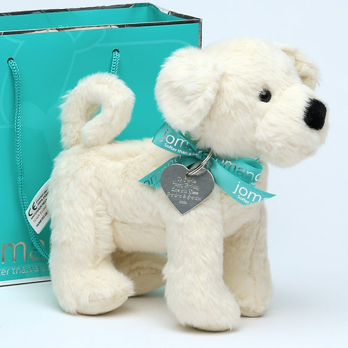 Cream Puppy With Personalised Engraved Tag