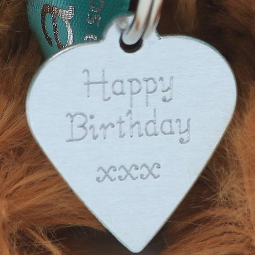 """Happy Birthday"" Heart Tag - 3cm"