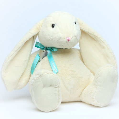 Large Cream Bunny With Bow & Personalised Tag