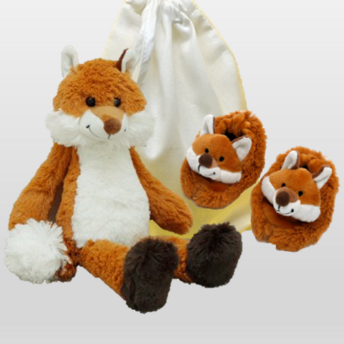 Foxy Dave and Slippers in a cotton drawstring bag
