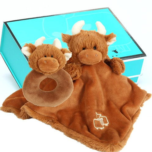 Highland Coo Soother & Rattle Gift Set