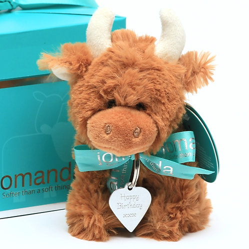 Mini Highland Coo with Happy Birthday Engraved Tag