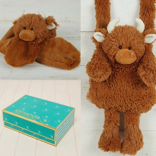 Highland Coo Hand Muff & Scarf In Magnetic Box