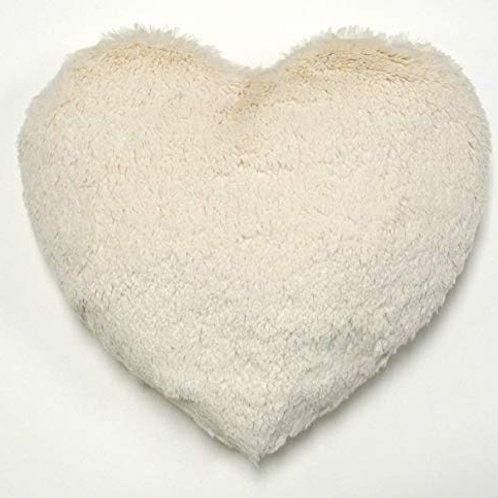 Heart shape plush cushion in drawstring heart bag
