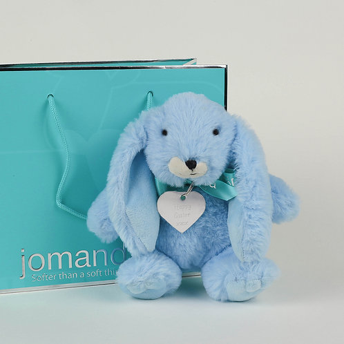 Small Snuggly Bunny Baby Blue with Happy Easter Keyring
