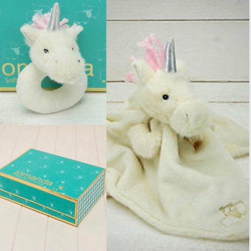 Unicorn finger puppet soother & rattle in Magnetic Box