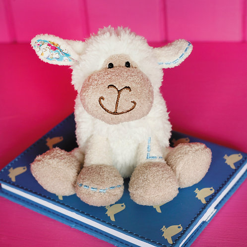 Mini White Sitting Sheep With Blue Stitch Detail