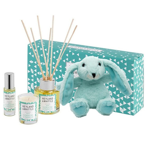 Prosecco & Clementine Gift Set with Mini Green Snuggly Bunny