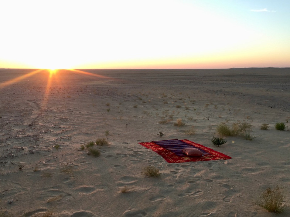 Sunrise... the rug is where I slept last night.. yes, right under the stars