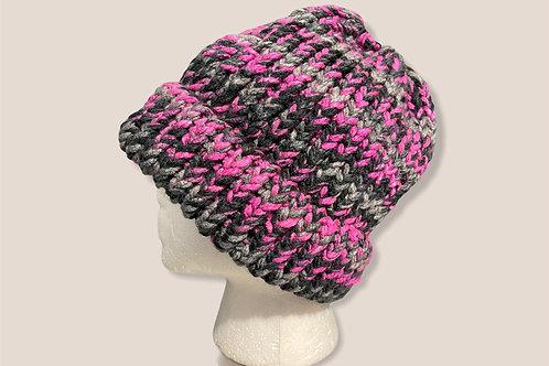 Gray Pink Ponytail Beanie