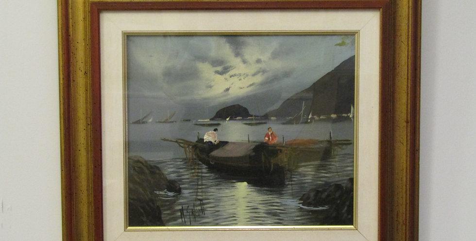 Fishing boat by the rocks in Italian Coast  by Mario Galanti