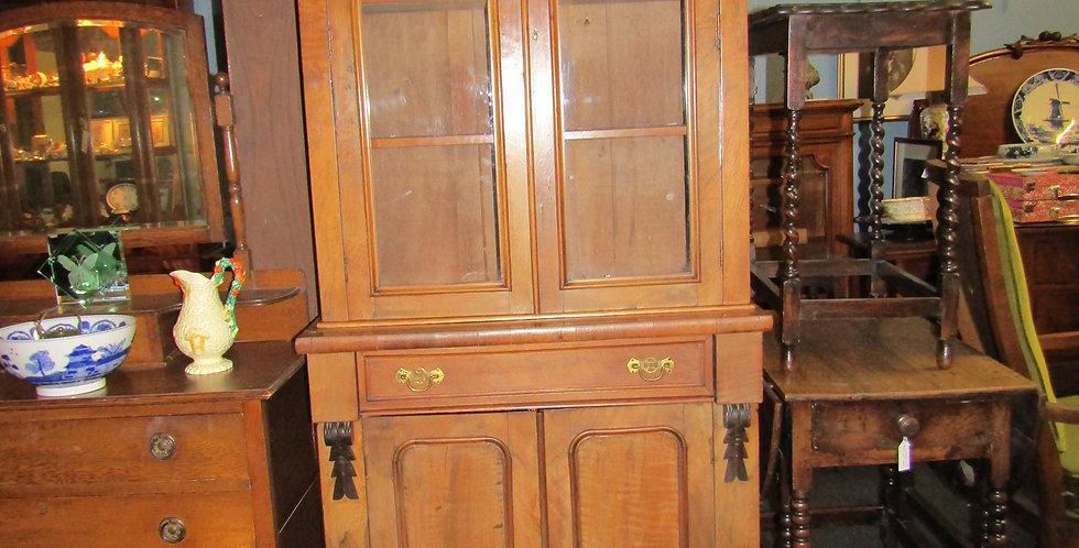 Walnut tall locking book case and cupbroad