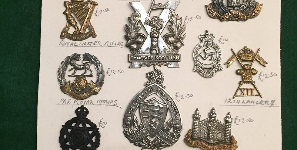 WW1 Metal Military cap badges