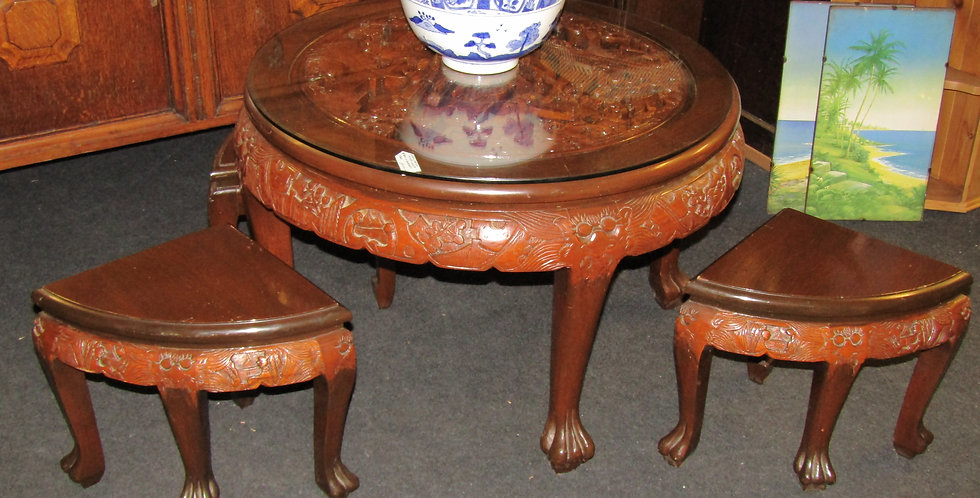 Chinese tea carved table with four stools